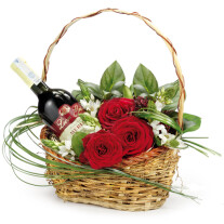A basket with wine